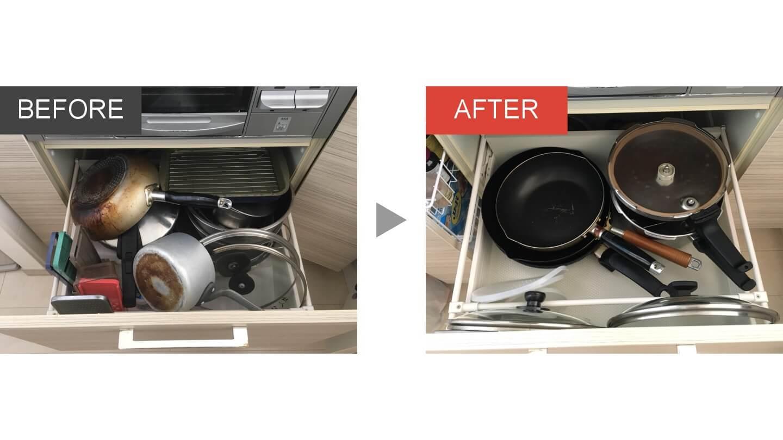 キッチン引き出しの整理収納ビフォアアフター