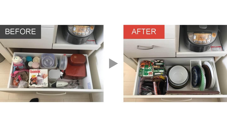 キッチンカップボードの整理収納ビフォアアフター