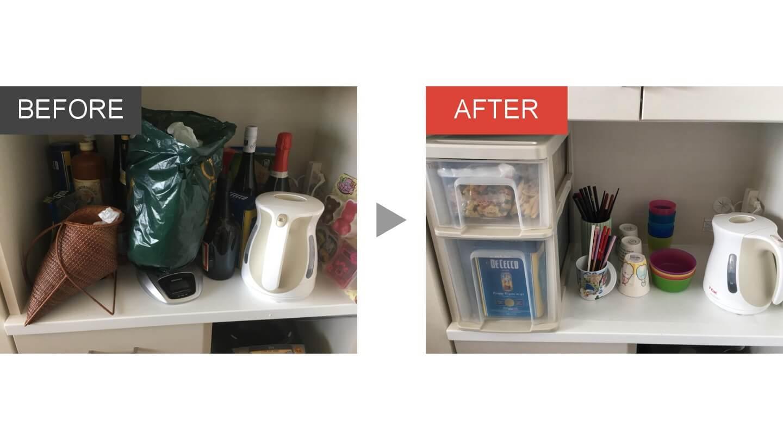 キッチンカップボード上の整理収納ビフォアアフター