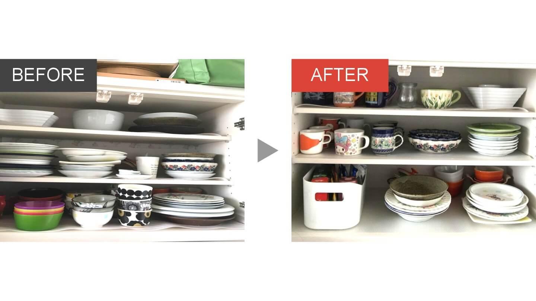 キッチンの食器棚の整理収納ビフォアアフター