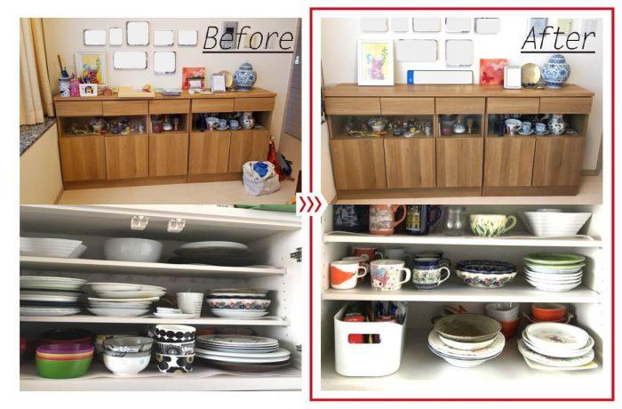 キッチンとリビングの整理収納ビフォアアフターアイキャッチ