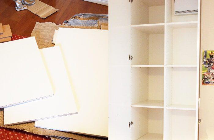 壁面収納に棚板増設