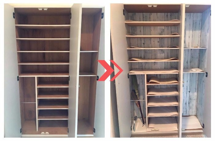 左にシミなどで汚れた下駄箱、右にリメイクシートできれいにした後の下駄箱の写真