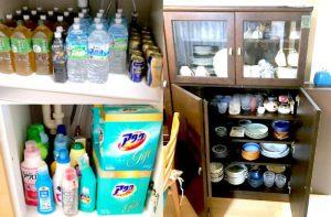 整理収納引越しプラン、片付いた洗面台とシンク下収納と食器棚食器棚の画像