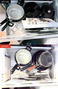 実例整理収納初回プランキッチン収納の引き出しの中に鍋が収納されている画像