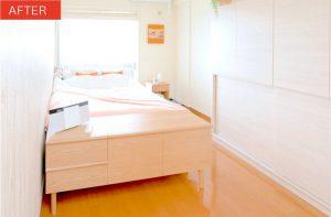 寝室のベッドとサイドボードのアフター