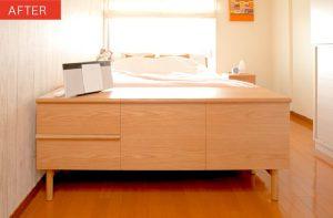 寝室のベッドサイドボードのアフター