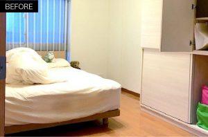 寝室のベッドのビフォアー