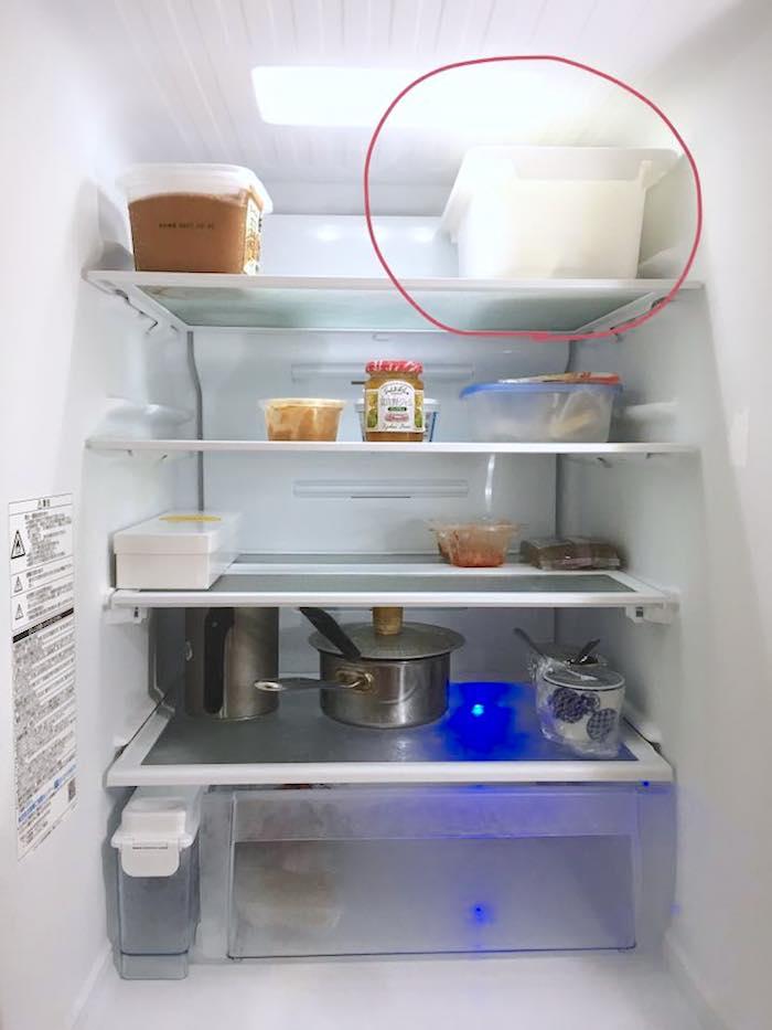 タッパーに入れて冷蔵庫に保管した生ゴミアイデア